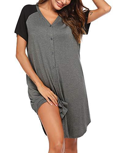 ADOME Nachthemd Damen Kurzarm Schlafshirt Nachtkleid Stillnachthemd Schwangerschaft umstandsnachthemd Nachtwäsche Kurz Umstandsmode mit Durchgehender Knopfleiste geburtshemd für Schwangere Grau S