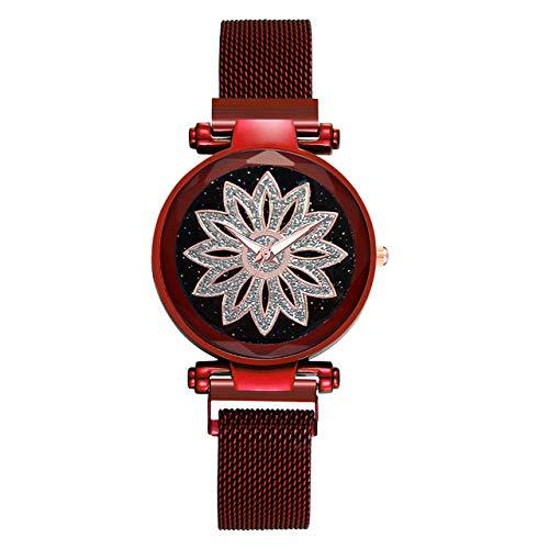 VEADK Reloj de Las señoras Hot Fashion Women Flower Rhinestone Wrist