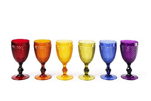 Excelsa Diamond Set 6 Calici Vino Infrangibili, Plastica, Multicolore
