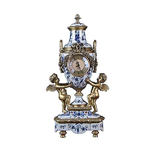 DAMAI STORE Reloj Decorativo Vintage Reloj De Cerámica con Cobre Asiento De Ángel Reloj Sala De Estar Porche Habitación Modelo Decoración Suave For El Hogar