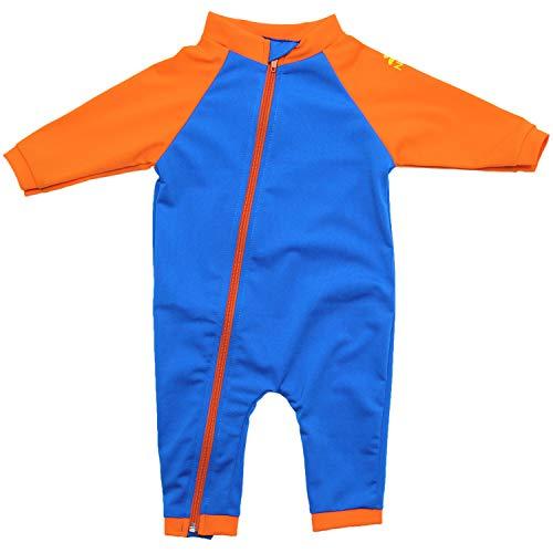 Nozone Tahiti Full Zip Sun Protective Baby Swimsuit in Marine Blue/Orange, 0-6 Months