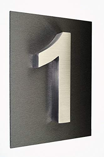 Hausnummer Hausschild 1 Edelstahl V2A 3D Hausnummer ITC-Bauhaus Acrylplatte 29cm x 21cm diamant-anthrazit