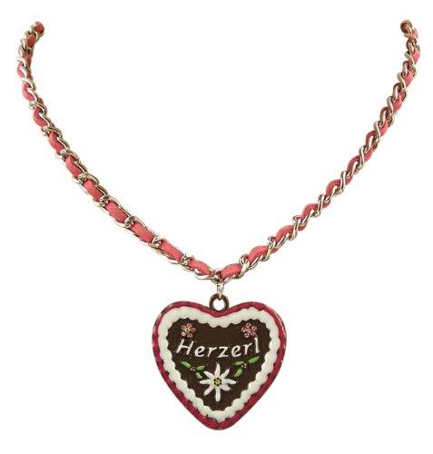 Ois Echt® Trachtenschmuck Lebkuchenherz Trachtenkette mit Veloursband - Herz mit der Aufschrift Herzerl Pink