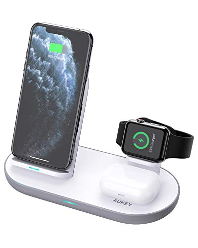 Aukey 3-in-1 Wireless Charging Station for iPhone, AirPods, Watch - $25.49