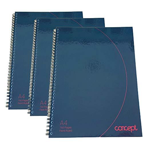 Concept Notizbuch, A4, Hardcover, glänzend, Spiralbindung, perforiert, gelocht, mit Rand für Revisionen, Notizen, 160 Seiten, 3 Stück