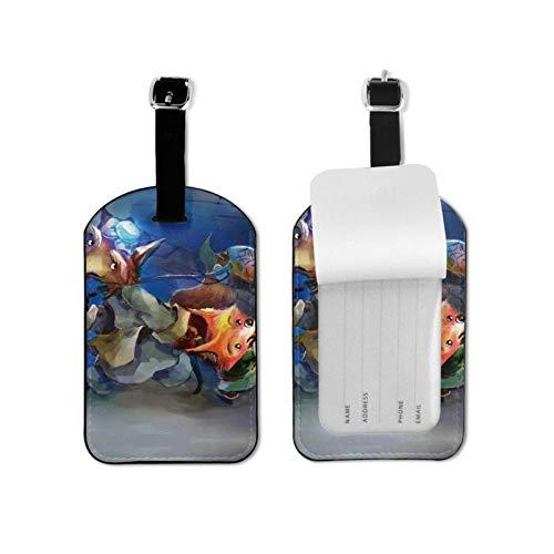 Space Foxes - Etiquetas para equipaje de viaje para viajeros inteligentes, mejor para evitar la pérdida de bolsas y maletas, piel sintética de microfibra, 2.7 x 4.3 pulgadas