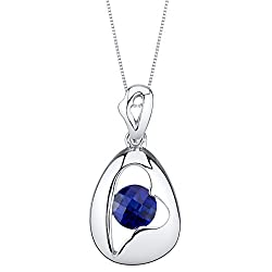 Sterling Silver Minimalist Pendant Necklace In Blue-Sapphire Color
