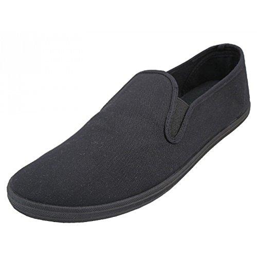 LF Wear Mens Canvas Shoes Slip on Sneakers, Black 11