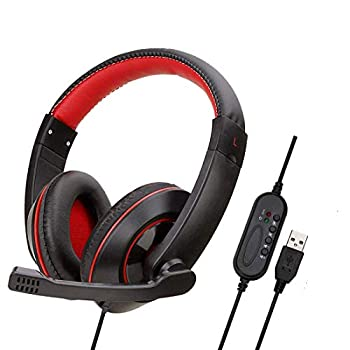YOUPECK 7.1 Virtual Surround USB Headset - USB Stereo Gaming Headphones and Microphone for Windows Mac Computer Video Games - Professional Gamer Braided Cable and Mic Set  Black