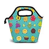 Linda piña limón y aguacate dibujos animados fruta patrón aislado almuerzo bolsa elegante extra grande bolsas de almuerzo para mujer – Bolsa impermeable para el trabajo escolar, viajes de picnic