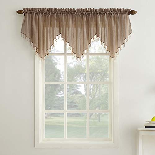 """No. 918 25908 Erica Crushed Texture Sheer Voile Beaded Ascot Rod Pocket Curtain Valance, 51"""" x 24"""", Taupe"""