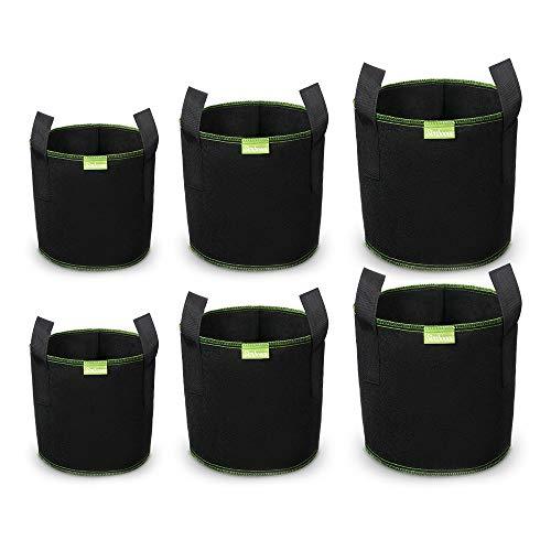 SIMBOOM 6 Stück Pflanzsack aus Vliesstoff Pflanztöpfen, Pflanzenbehälter mit Griffe für Tomaten, Blumen, Pflanzen und mehr, Schwarz - 5/7/10 Gallonen