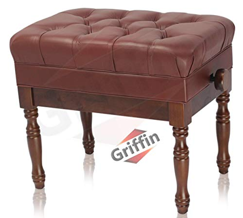 Review Of Genuine Leather Adjustable Piano Bench by Griffin | Brown Solid Wood Vintage Design, Heavy...