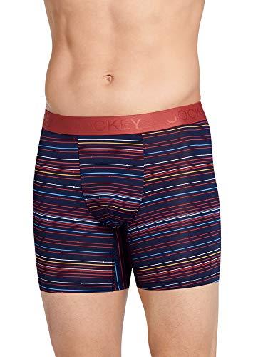 Jockey Men's Underwear Lightweight Travel Microfiber Boxer Brief, Multistripe, l