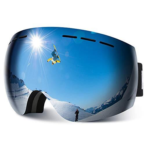 HAUEA Skibrille für Damen und Herren Skibrille für Brillenträger verspiegelt Skibrille UV400 Schutz und Anti-Fog Doppellinse (Silber)