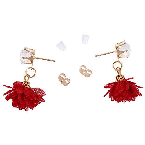 TOOGOO Fiori di stoffa Orecchini pendenti Geometria Trendy Zircone Orecchini lungo nappa per gioielli donna rosso