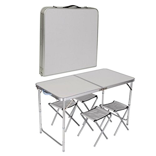 4 CHAIR FOLDING TABLE SET OUTDOOR PICNIC CAMPING GARDEN PORTABLE KITCHEN DINING (AAA)