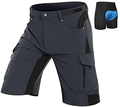 Vzteek MTB - Pantalón acolchado para ciclismo gris XXXL