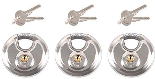 iapyx® gleichschließendes schloss, 3 Stück, Ø 70mm Vorhängeschloss, rostfrei