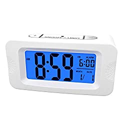 Plumeet Digital Alarm Clocks Kids Clock Light Up All Night, 4'' LCD Display Showing Time Alarm Date - Bedside Clocks with Snooze for Bedroom Kitchen Office Battery Operated (White)