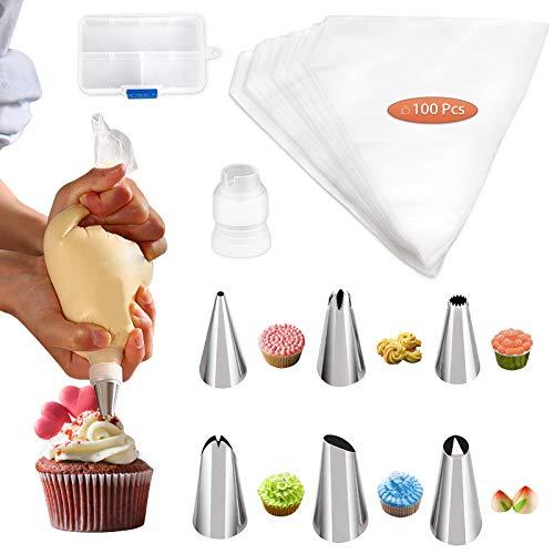 ITME Spritztüllen Set, 100 Medium One-Time Spritzbeute, 6 Edelstahl Piping Nozzles Mit Einer Aufbewahrungsbox, für DIY Kuchen Dekorieren Cookies Dessert Machen