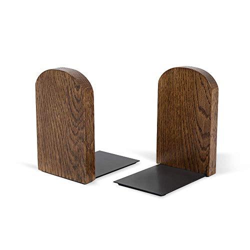 Bücherhalter für Regal minimalistisches Design | Moderner Buch Winkel aus Holz und Blech | Buch Halterung aus natürlichem Holz HYKKE | 100% ECO | Made in EU (Nussbaum Runde)