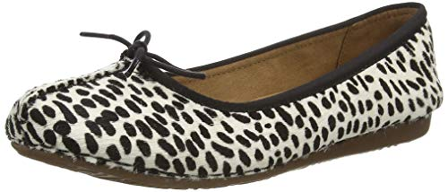 Clarks Damen Freckle Ice Mokassin Ballerinas, White/Black Lea, 38 EU