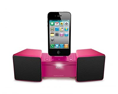 iLuv iMM286PNK Stereo Speaker Dock for iPhone/iPod and Alarm Clock - Pink by iLuv