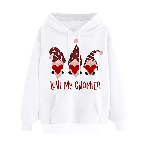 Blusa para Mujer, Sudadera de Lana Fina con Capucha con Estampado del día de San Valentín para Mujer, Ropa para Mujer (L Blanco)