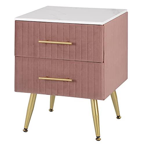 WOLTU Nachttisch Sofatisch Nachtkommode Nachtschrank mit 2 Schubladen für Schlafzimmer Wohnzimmer aus MDF, Einfache Installation 40.5x41x51cm, Samt, Rosa TS134rs