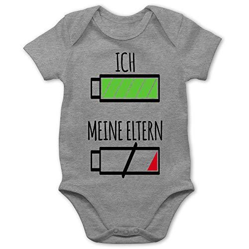 Strampler Motive - Ich und Meine Eltern Batterie - 1/3 Monate - Grau meliert - Baby Shirt lustig Junge - BZ10 - Baby Body Kurzarm für Jungen und Mädchen