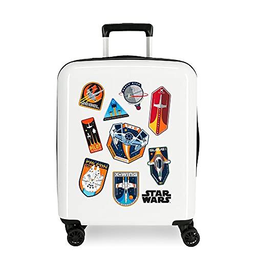Star Wars Badges Maleta de Cabina Blanco 40x55x20 cms Rígida ABS Cierre TSA Integrado 38,4 2 kgs 4 Ruedas Dobles Equipaje de Mano