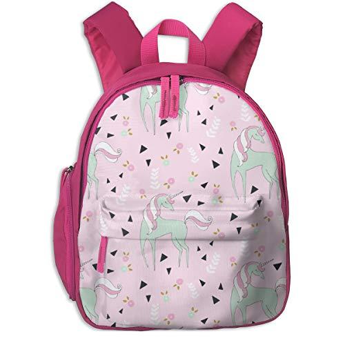 Kinderrucksack mädchen,Unicorn Mix Cute Girls Mint U0026 Pink Unicorn Design Mit Dreieck U0026 Flowers_3254 - emilyhamiltonillustration, Für Kinderschulen Oxfordstoff (pink)
