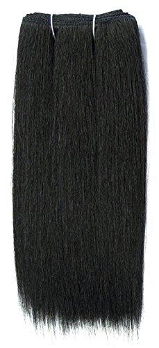 Chear Extensions de cheveux Yaki humains lisses, mélange de tissage, noir, numéro 1b, 30,5 cm