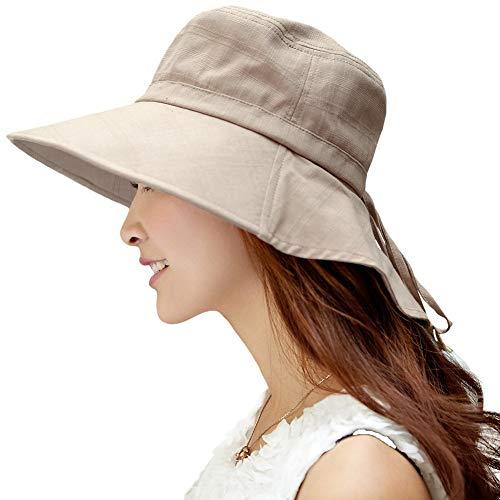 Comhats Siggi borde ancho de Sun del verano del sombrero de la aleta del cuello de la cubierta cordón de algodón UPF 50+ Tan para las mujeres Large 1005_khaki