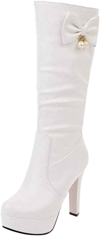 FANIMILA Women Chunky Heel Mid Calf Boots Knee High
