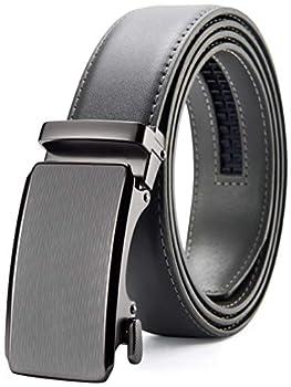 Mens Belt Chaoren Ratchet Belt Dress with 1 3/8  Genuine Leather Slide Belt with Easier Adjustable Buckle Trim to Fit  Grey Belt