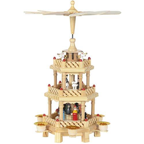 OBC Weihnachtspyramide/Krippe bunt/Pyramide Weihnachten / 3 Etagen/im Erzgebirge Stil, handgefertigt/Deko zu Weihnachten