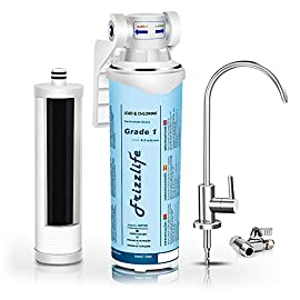 "Frizzlife under sink water filter-nsf/ansi 53&42 certified drinking water filtration system-0. 5 micron removes 99. 99% lead, chlorine & odor, reduce fluoride-w/dedicated faucet 1 【two-stage advanced water purifier with 0. 5 micron】: the frizzlife mp99 water filtration system include a two-stage high precise compound filter, which has a unique technology that removes over 99. 99% of contaminants while leaving in all essential minerals. Eliminates lead, heavy metals, chlorine, chromium 6, mercury, rust, volatile organic compounds, carcinogens, and other contaminants, such as turbidity, ordors and bad tastes. Enjoy pure and healthy water from the tap. No more bottle water! 【dedicated faucet & brass feed water adapter valve included】: frizzlife undersink water filtration system includes a dedicated stainless steel faucet that can be installed in most sinks providing cleaner filtered water for cooking or drinking. No plumbing would be required. It comes with a 3/8"" compatible brass feed water adapter, brackets, and step-to-step installation manual, you can mount the water filter as you wish within 10 minutes. 【best auto shut off design】: utilizing quick change twist-in installation design makes it take less than 3 minutes for you to install the system or doing a filter replacement. Provides for easy, tool-free, no mess filter replacement. The filter cap is designed with a built-in shut off valve. You don't even need to shut off the water supply whenever you work on the filter cartridge replacement."