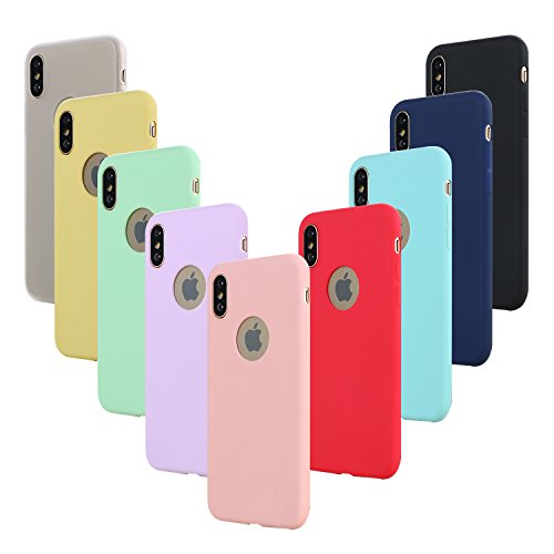 Leathlux 9 × Custodia iPhone XS/X Cover Silicone Ultra Sottile Morbido TPU Custodie Gel Cover per iPhone X/iPhone XS 5.8' Rosa, Verde, Porpora, Blu, Giallo, Rosso, Blu Scuro, Traslucido, Nero