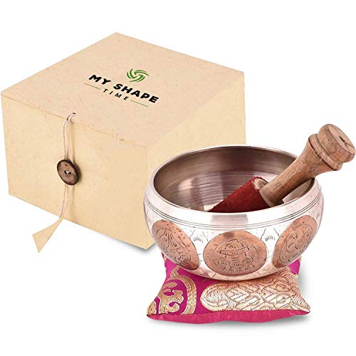 Tibetan Singing Bowl Set - Meditation Singing Bowls Sound Bowl For Yoga, Spiritual Healing and Mindfulness -Beautifully Handcrafted Gift Box Perfect For Mothers Day Gift (Bronze)