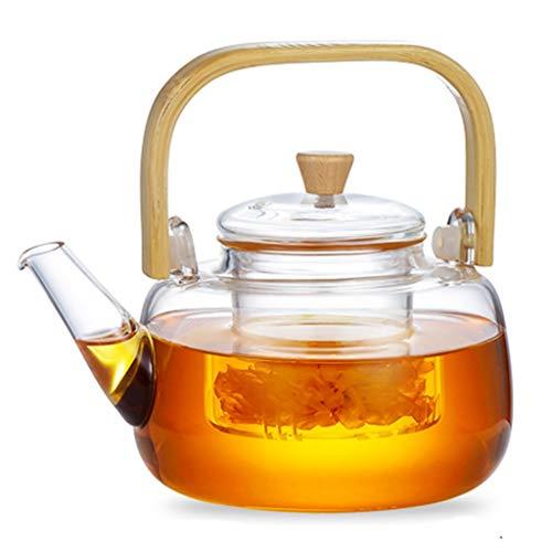 Teekannen Glas Home Tee Set Hochtemperaturwiderstandsfähig Dicker Kessel Blume Elektrischer Keramikofen Natürlicher Bambusgriff (Color : Natural, Size : 1000ML)