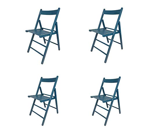 Set da 4 Sedie Pieghevoli, in Legno di Faggio, Robuste Casa Interno Giardino, 100% Made in Italy (Azzurro)