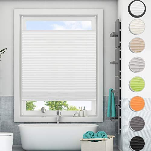 Magiea Plissee Klemmfix Ohne Bohen Jalousien Rollo,Sichtschutz Rollo für Fenster & Tür, Weiß, 80x130cm(BxH)