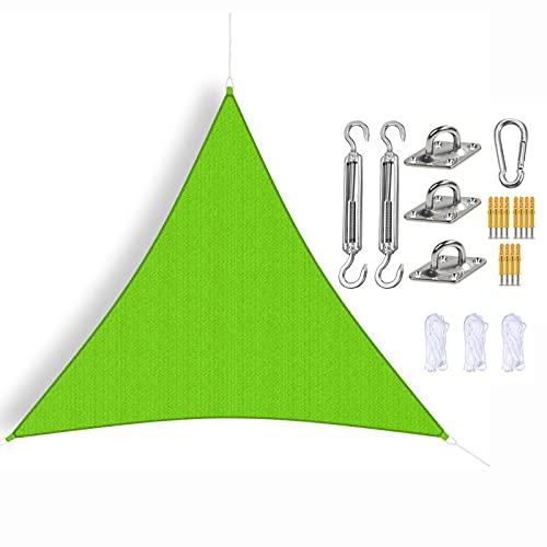 Triangle Sun Shade Toldo Vela, Toldo Verde Impermeable Anti-Ultravioleta con Kits de Fijación y Cuerda, Toldo Triangular de Protección Solar para Patio, Terraza, Jardín, Jardín,2.4x2.4x2.4m