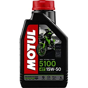 Motul 104080 5100 4T Hybrid 15W-50 API SM Technosynthese Semi Synthetic Engine Oil for Bikes (1 L)