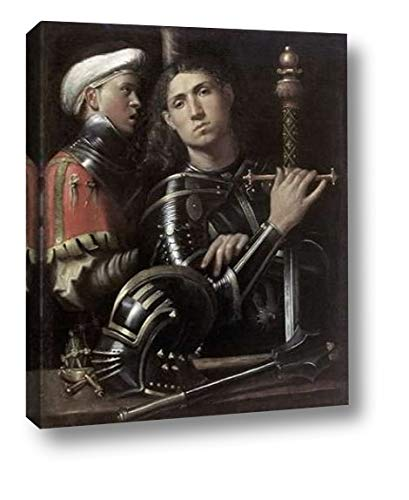 "Portrait of a Man in Armor with His Page by Giorgio Giorgione - 25"" x 30"" Canvas Art Print Gallery Wrapped - Ready to Hang"
