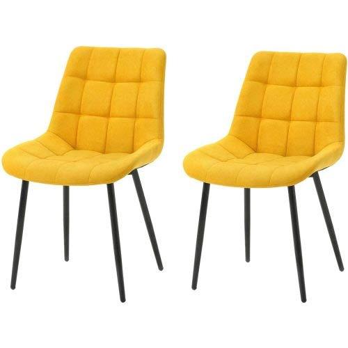 Juego de 2 sillas de comedor con cojín de tela, sillas auxiliares, sillas de oficina con patas de metal para comedor, sala de estar, cocina, color amarillo