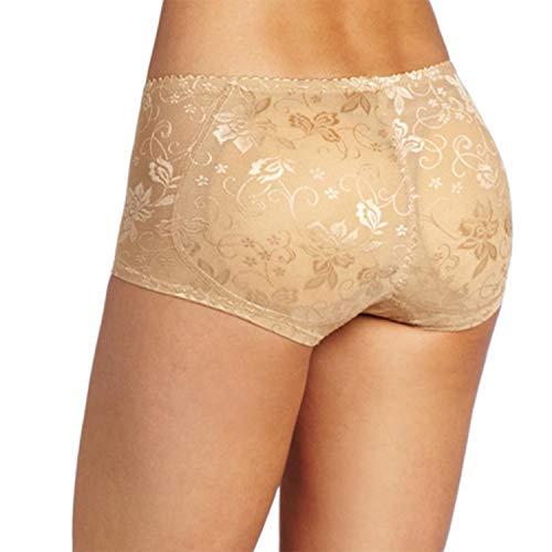 Shoppy Homes Women's Butt Lifter Low Waist Firmer Smooth Round Shape Seamless Padded Butt Hip Enhancer Shaper Panties Made Polyurethane Outer Covering Washable (X Large) Beige