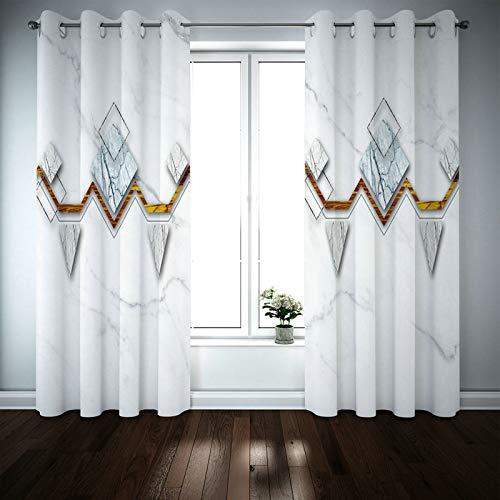 Kihomedy Cortina para ventanas de dormitorio, diseño de rombos triangulares, color gris, para niños, cortinas de panel para dormitorio de 2014 x 224 cm, 2 paneles